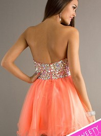 Strapless Sweet Sixteen Party Coral Dress 4311 by AlyceOutlet