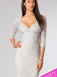 Sweet Sixteen Silver Lace Cocktail Dress 269429Outlet