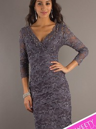 Sweet Sixteen Gunmetal Lace Cocktail Dress 269429Outlet