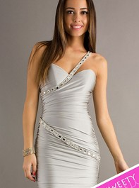 Sweet Sixteen Short One Shoulder Silver Dress 8028 with Beaded Detail by AtriaOutlet