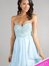 Sweet Sixteen Strapless Ice Blue Party Dress 10069 by Dave and JohnnyOutlet