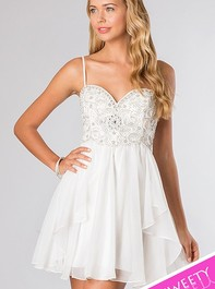 Sweet Sixteen Strapless White Party Dress 10069 by Dave and JohnnyOutlet