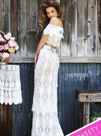 Sherri Hill 32230 Fringed Lace Two Piece Ivory Prom DressOutlet