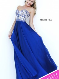 Long Strapless Sherri Hill 1947 Navy Prom DressOutlet