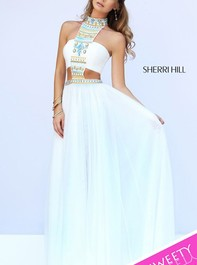 Sherri Hill 11247 High Neck Ivory Black Prom DressOutlet