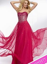 Mori Lee 95007 Strapless Bright Fuchsia Prom DressOutlet