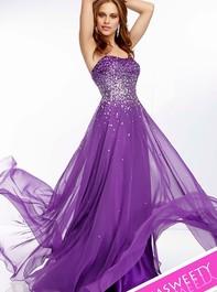 Mori Lee 95007 Strapless Bright Purple Prom DressOutlet