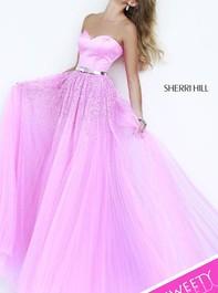 Sherri Hill 32135 Strapless Sparkly Hot Pink Prom DressOutlet