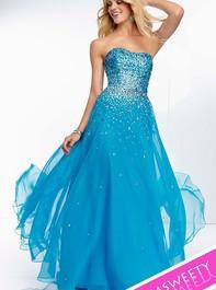Mori Lee 95007 Strapless Bright Blue Prom DressOutlet