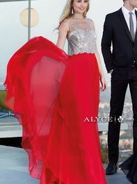 Alyce Paris 6342 Elegant Sleeveless Long Red Prom GownOutlet