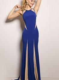 Jovani 21721 Sheer Panel Jersey Royal Prom DressOutlet