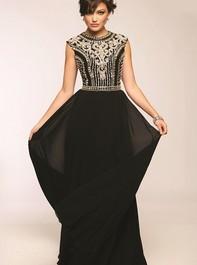 Jovani 24413 Bead Embellished Long Black Prom DressOutlet