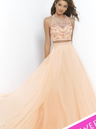Top Beaded Floor Length Cantaloupe Two Piece Prom Dress by Blush 9916Outlet