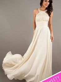 Dancing Queen Beaded Halter Top Ivory Prom Dress 8337Outlet