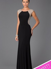 Xscape Cap Sleeve Illusion Back Long Black Prom Gown 5844Outlet