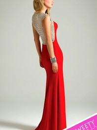 Xscape Cap Sleeve Illusion Back Long Red Prom Gown 5844Outlet