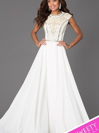 Top Beaded Long White Prom Dress by Jovani 24413Outlet