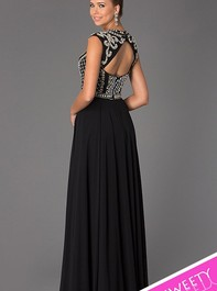 Top Beaded Long Black Prom Dress by Jovani 24413Outlet