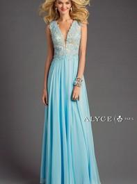 Alyce Paris 6418 Flowy Silky Chiffon Long Sky Blue Prom DressOutlet