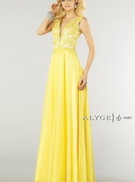Alyce Paris 6418 Flowy Silky Chiffon Long Yellow Prom DressOutlet