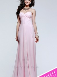 Strapless Sweetheart Long Lace Ice Pink Prom Dress by Faviana 7591Outlet